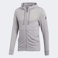 """Adidas Men Workout Hoodie Lite Track Jacket Grey Original"""