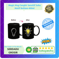 Cangkir Sensitif Suhu Motif Bohlam 400ml - Magic Mug Unik