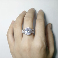Cincin Berlian Lapis Emas Putih Imitasi Batu Zircon GEDE Silver A9404