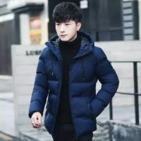 jaket korea musim dingin pria keren navy / hitam