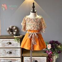 IU Setelan Blus Sifon Lengan Pendek Print Bunga Celana untuk Perempuan
