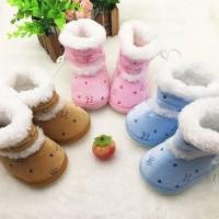 Sepatu Bot Bayi Baru Belajar Jalan Musim Dingin Padat Atasan Renda
