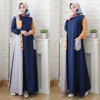 Gamis Almetai Jumbo Maxi Dress Syari Muslimah Big Size Model Casual