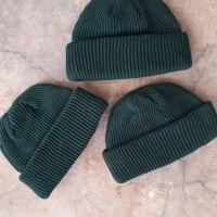 Short beanie hat skate series dark green/kupluk pendek model beaniehat