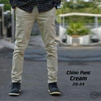 celana panjang chino pria cowok warna cream polos formal kantor murah