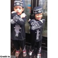 Baju Koko BLACK PANTHER Pakaian Muslim Anak Laki Premium Mewah MARUNO