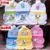 Jual Topi + Sarung tangan kaki + Celemek Bayi (KOMPLIT SET) Murah