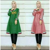 Baju Atasan Wanita Tunik Muslim Tunik Fendy hijau dusty