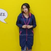 Hot Sale!!! Jaket Sweater Wanita Loong Zipper Hodie Navy Fashion Hijab