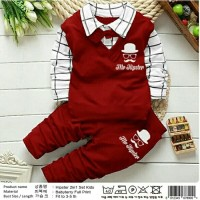 baju anak import hip set amerikano merah