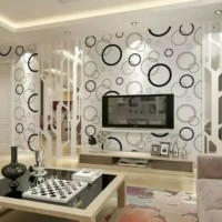 Bubble Black White Wallpaper Dinding 10M x 45Cm