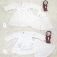 Baju Gamis Anak Bayi Perempuan Newborn Aqeqah Putih Set Jilbab Renda