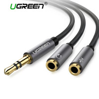 UGREEN SPLITTER AUDIO HEADPHONE MICROPHONE 3.55MM NYLON BRAIDED CABLE