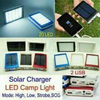 Jual Powerbank solar stainless Kotak 20 Led - 2 usb Barokah