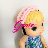 Pink pearl curly crochet Headband