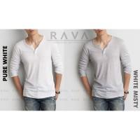RAVA Baju Kaos Pria Henley Berkancing Lengan Panjang ORIGINAL (PROMO