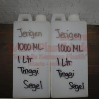BOTOL JERIGEN 1000ML / 1 LITER TINGGI SEGEL TRANSPARAN TUTUP PUTIH