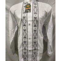 Baju Koko Bahan Katun Lengan Panjang Bermotif Hitam Putih Termurah