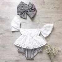 setelan baju baby perempuan lace putih sabrina plus bandana grey