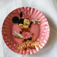 piring kertas kue tart ulang tahun karakter minnie mini minni mouse