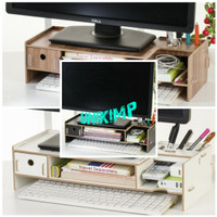 Rak Desktop Storage Box Organizer Laci Meja PC Laptop Komputer Kayu