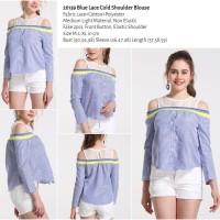 Blue Lace Cold Shoulder Blouse (size M,L,XL) -26139