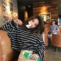 Kaos T-Shirt Model Longgar Lengan Panjang Motif Garis Gaya Korea