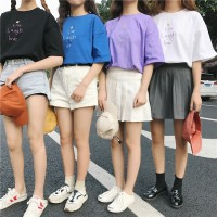 Kaos T-Shirt Korea Lengan Pendek Motif Bordir Tulisan Love, Ada 4