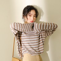 Korea New Gradient Two-tone Striped Long Sleeved T-shirt 2 Colors