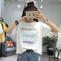 Korea New Printed Loose Large Size Short Sleeved T-Shirt 2 Colors