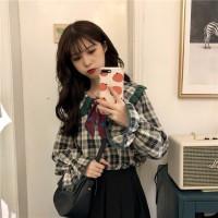 Korea Spring New Loose Lace Lapel Lantern Long Sleeved Plaid Shirt 2