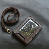 id card holder magnet dark brown