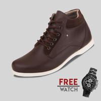 Sepatu Casual Pria S.Van Decka J-TY01K Free Jam Tangan Sport - Cokelat, 40