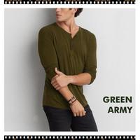 Men T-Shirt Henley Long Sleeve - Kaos Henley Lengan Panjang Pria