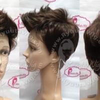 Wig Pria Cowo Cowok Pendek Jabrik Mohawk Style Korea Hitam Coklat