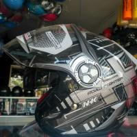 Helm Reventor Lantern Hitam Abu² Putih ((dobel visor))