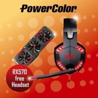 LIMITED PROMO VGA Powercolor RX570 FREE Exclusive Headset Red Devil