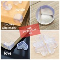 Pengaman sudut meja silikon oval transparan / pelindung siku sudut