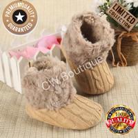 Sepatu Bayi Perempuan Boots Bulu Prewalker Baby Girl Shoe Import