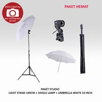 PAKET STUDIO LIGHT STAND 190CM + SINGLE LAMP + UMBRELLA WHITE 33 INCH