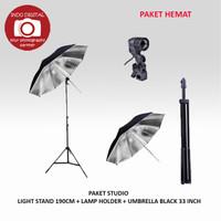 PAKET STUDIO LIGHT STAND 190CM +SINGLE LAMP +UMBRELLA BLACK SILVER 33