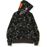 Bape Color Camo 2nd Shark Jaket Hoodie - Black 100% Original