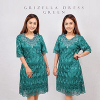 GRIZELLA Bodycon Dress Brukat Lace Import Hijau Merah/ Gaun pesta