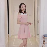 Lily Open Shoulder Dress Dress Wanita Terusan Cewek