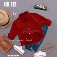 Setelan Kemeja Red dan Jeans Our Kiddos Setelan baju anak import