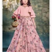 dress anak baju lebaran gaun pesta anak peach bunga b2w2 import