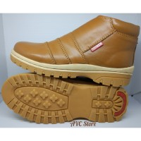 Sepatu Boots Pria Kulit Asli Tan