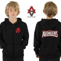 jaket hoodie zipper anak the avengers - hitam
