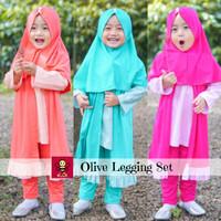 Cardigan Anak Balita Perempuan - Pakaian Muslim Anak - Olive Legging