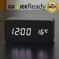 Jam Weker Kayu Digital Alarm LED Wood Premium